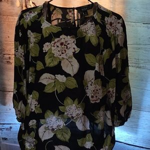 100%Rayon Black with White Floral Print NWT